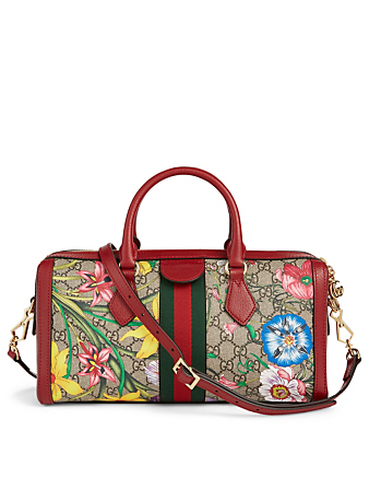 GUCCI Medium Ophidia GG Flora Boston Bag Women's Red