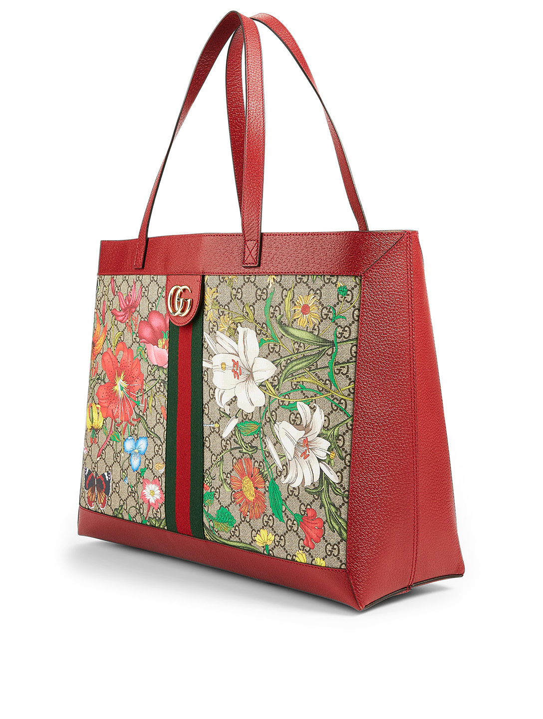 GUCCI Ophidia GG Supreme Tote Bag Women's Red
