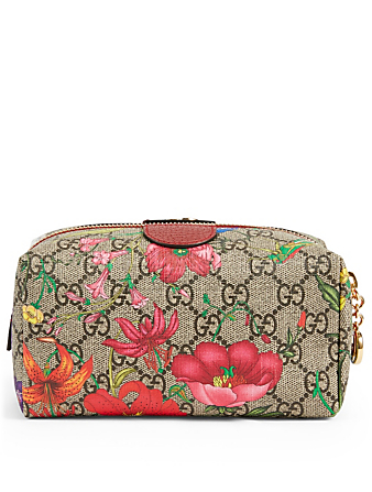 GUCCI Ophida GG Flora Cosmetic Bag Women's Red