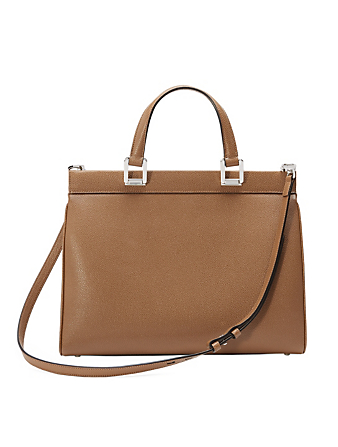GUCCI Zumi Leather Top Handle Bag Women's Brown