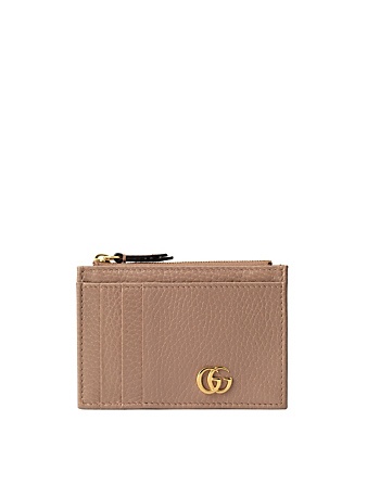 GUCCI GG Marmont Leather Card Holder Women's Pink