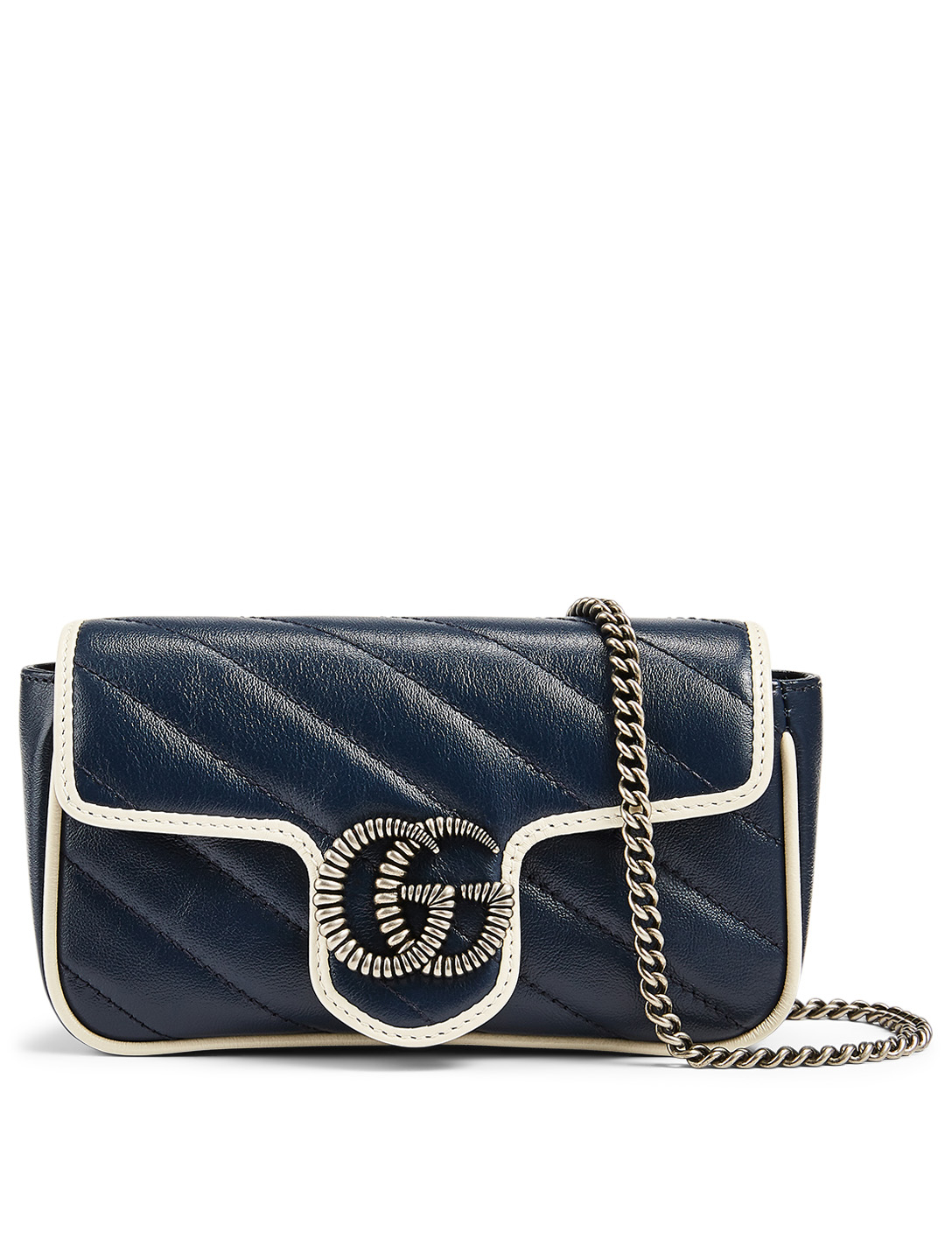 GUCCI Super Mini GG Marmont Leather Bag Women's Blue