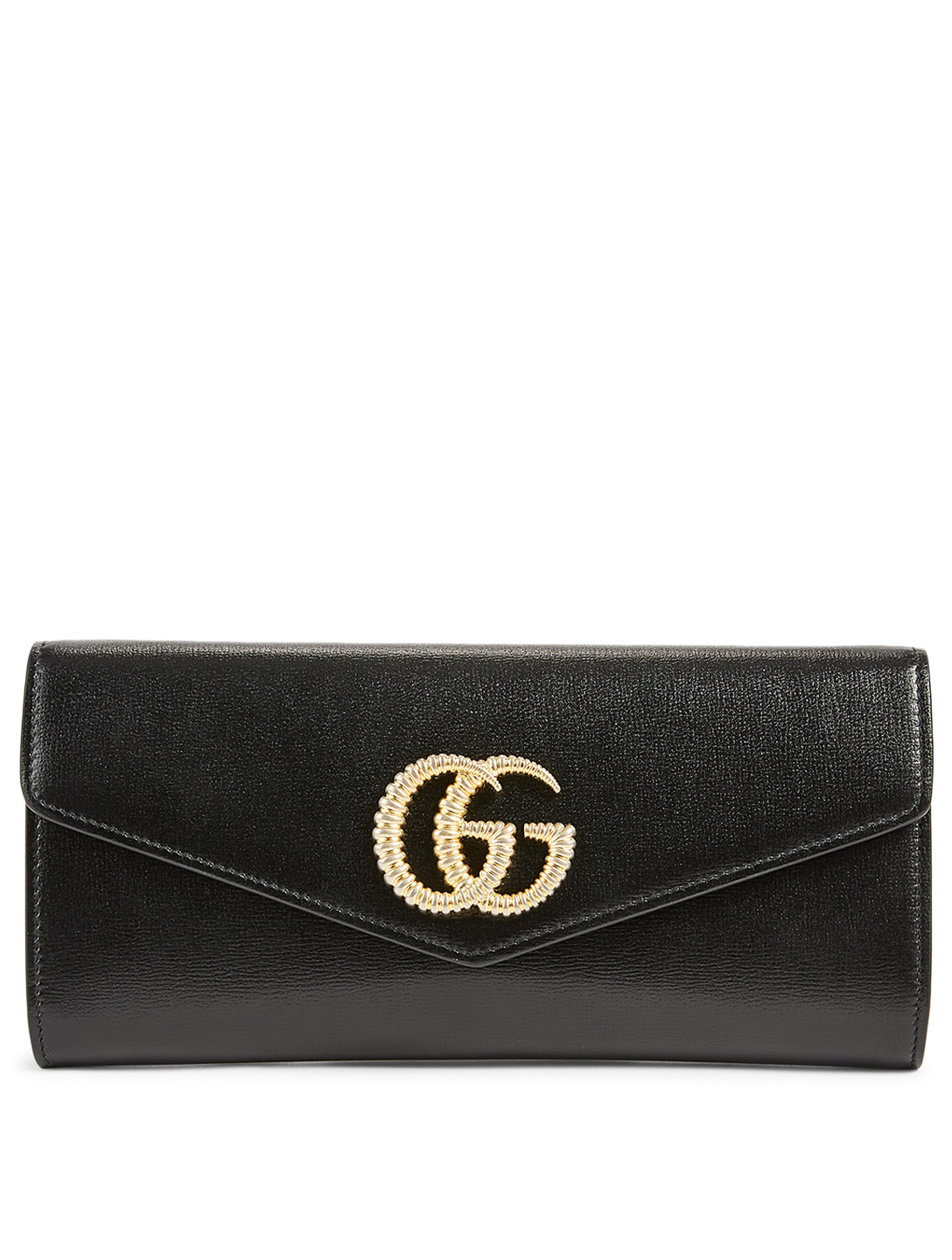GUCCI Broadway Leather Clutch Bag With Double G Women's Black