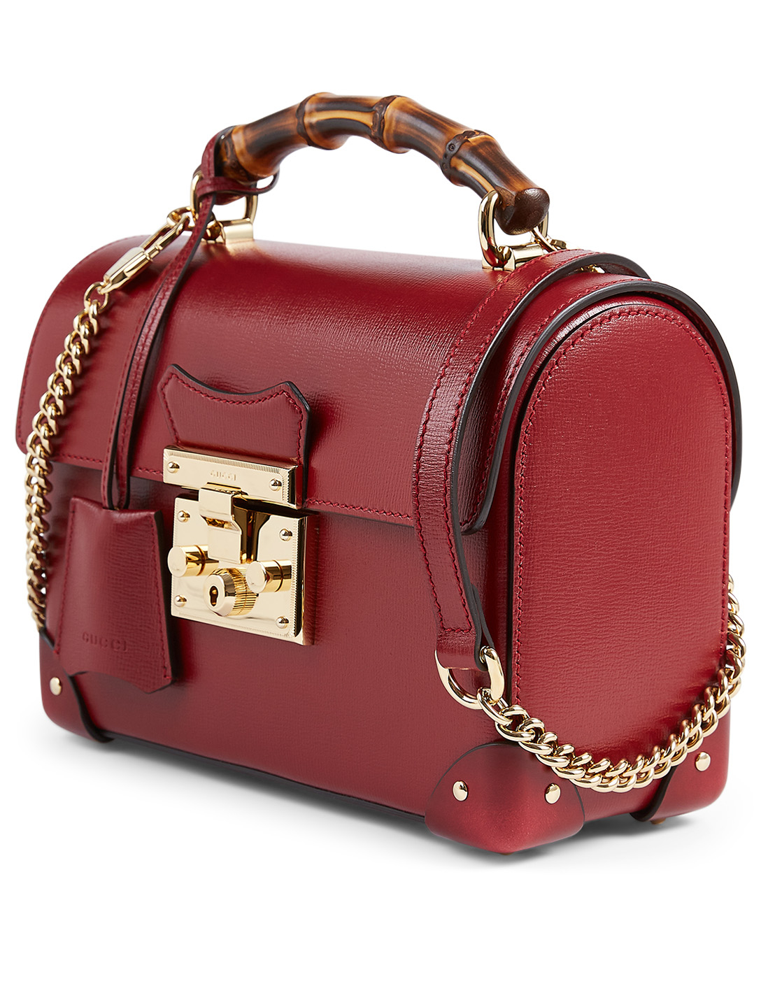 GUCCI Small Padlock Bamboo Leather Shoulder Bag Women's Red