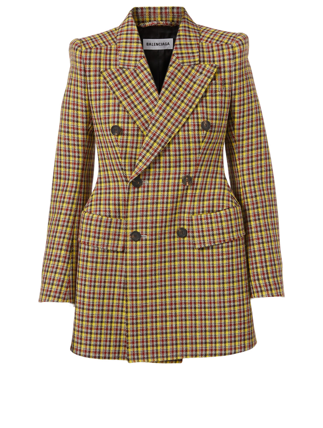 BALENCIAGA Hourglass Wool Double-Breasted Blazer In Check Print Women's Multi