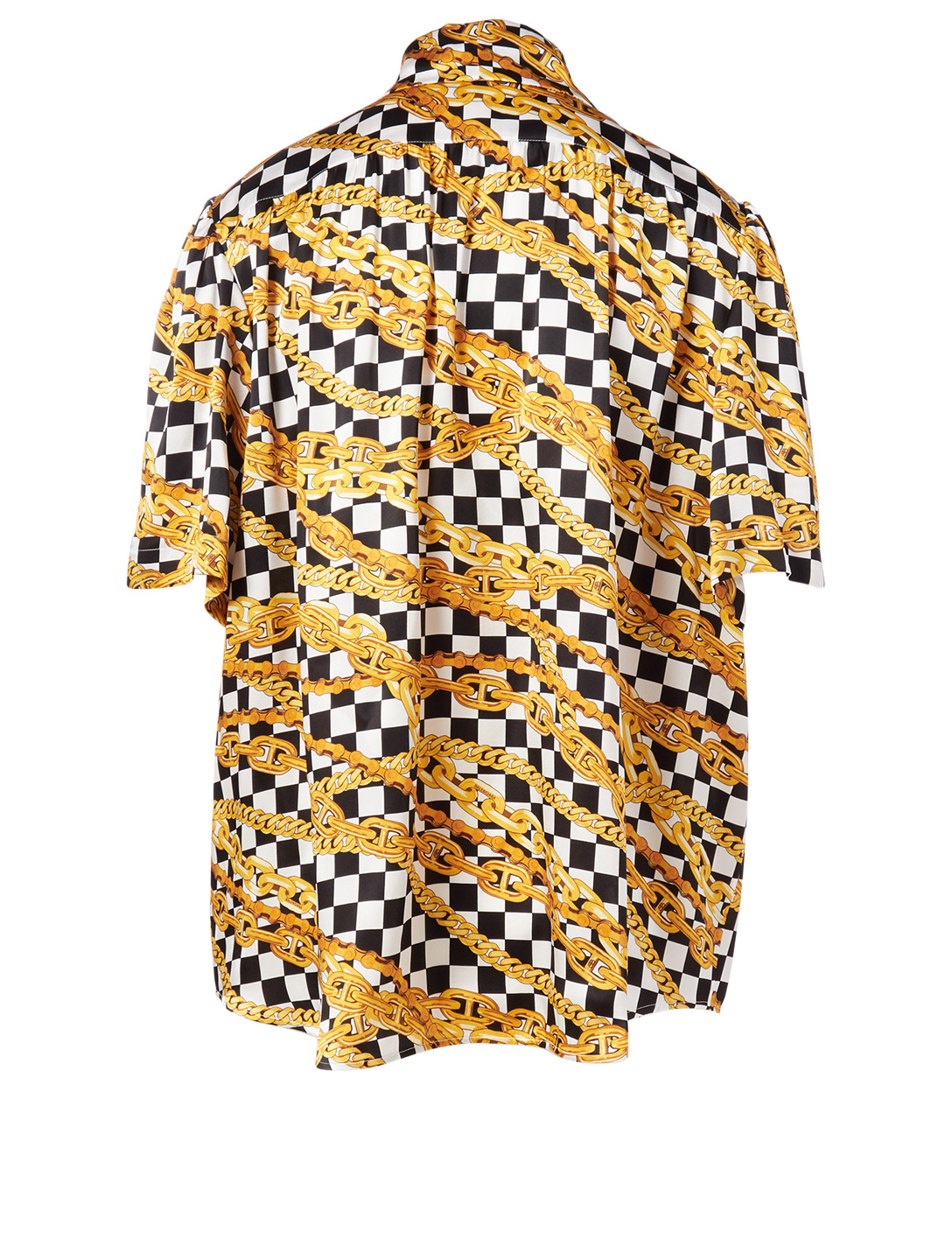 BALENCIAGA Silk Short-Sleeve Blouse In Chain Print Collections Multi