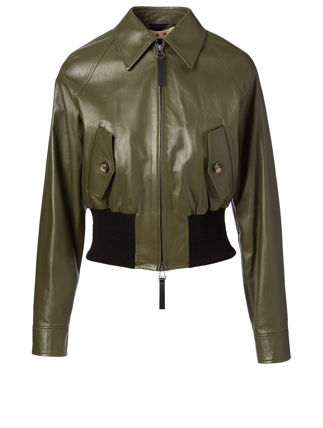 MARNI Leather Bomber Jacket Women's Green