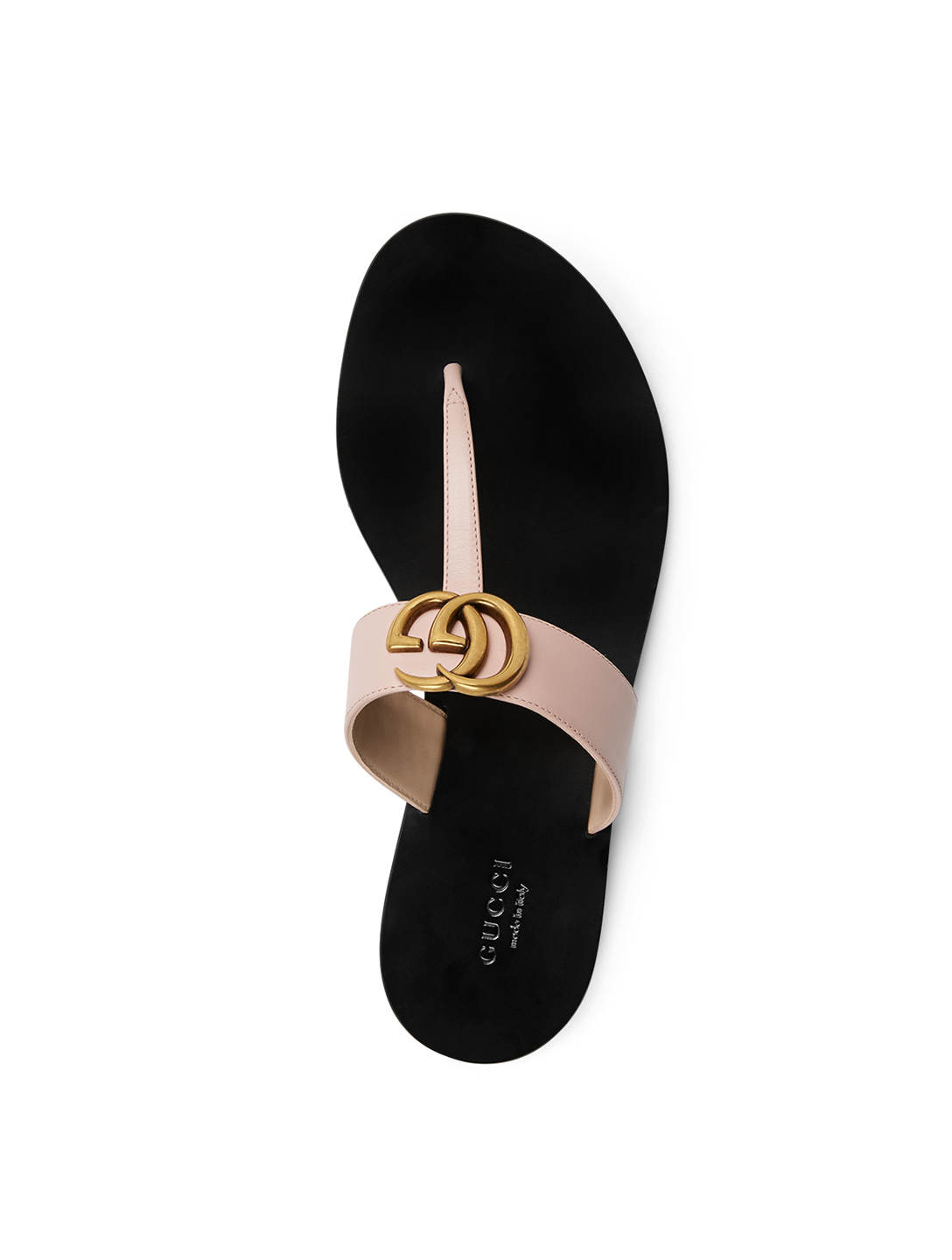 GUCCI Leather Thong Sandals With Double G Women's Pink