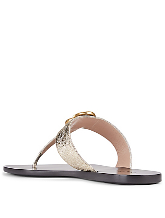 GUCCI Metallic Leather Thong Sandals With Double G Women's Metallic