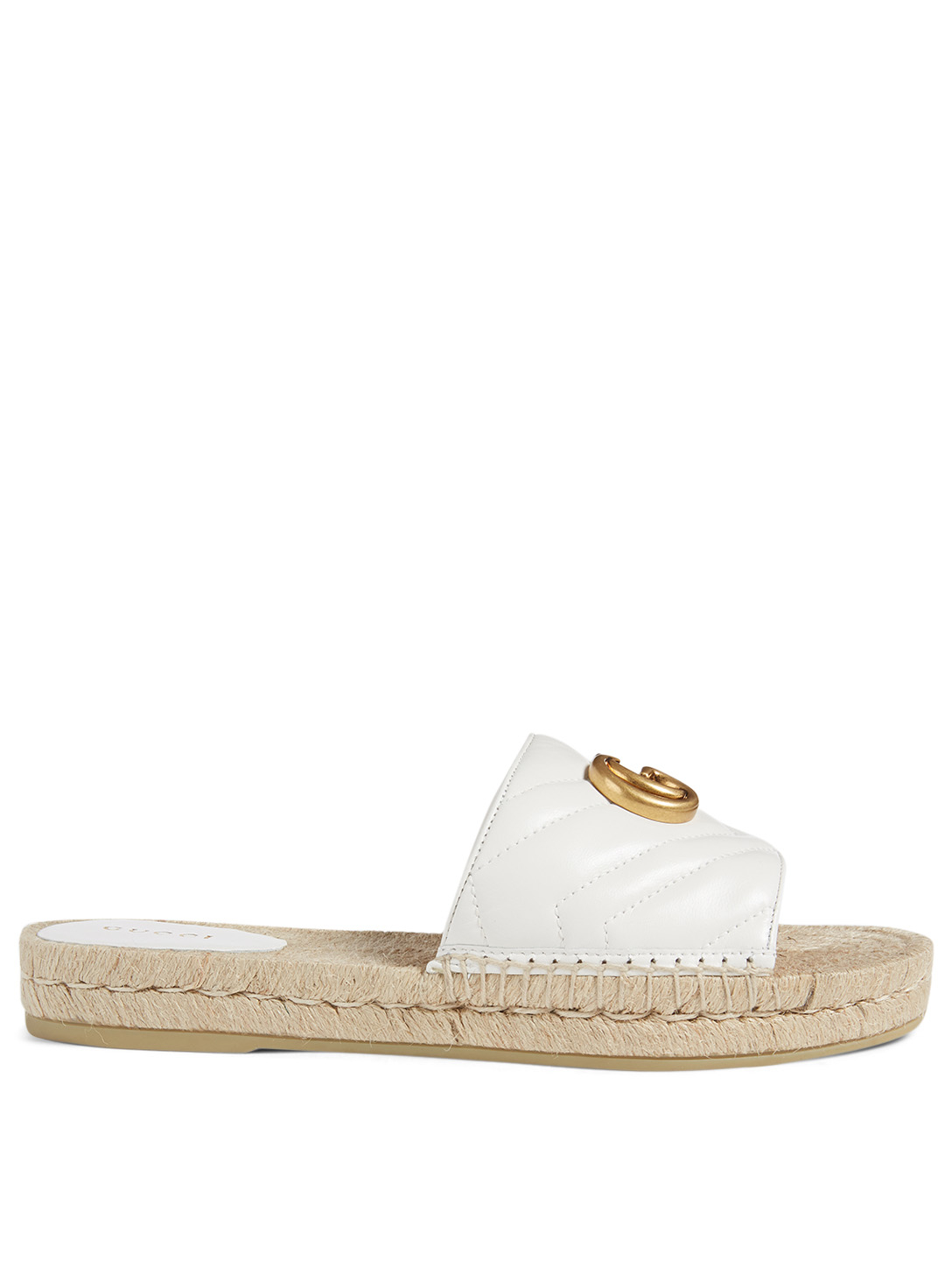 GUCCI Leather Espadrille Sandals With Double G Women's White
