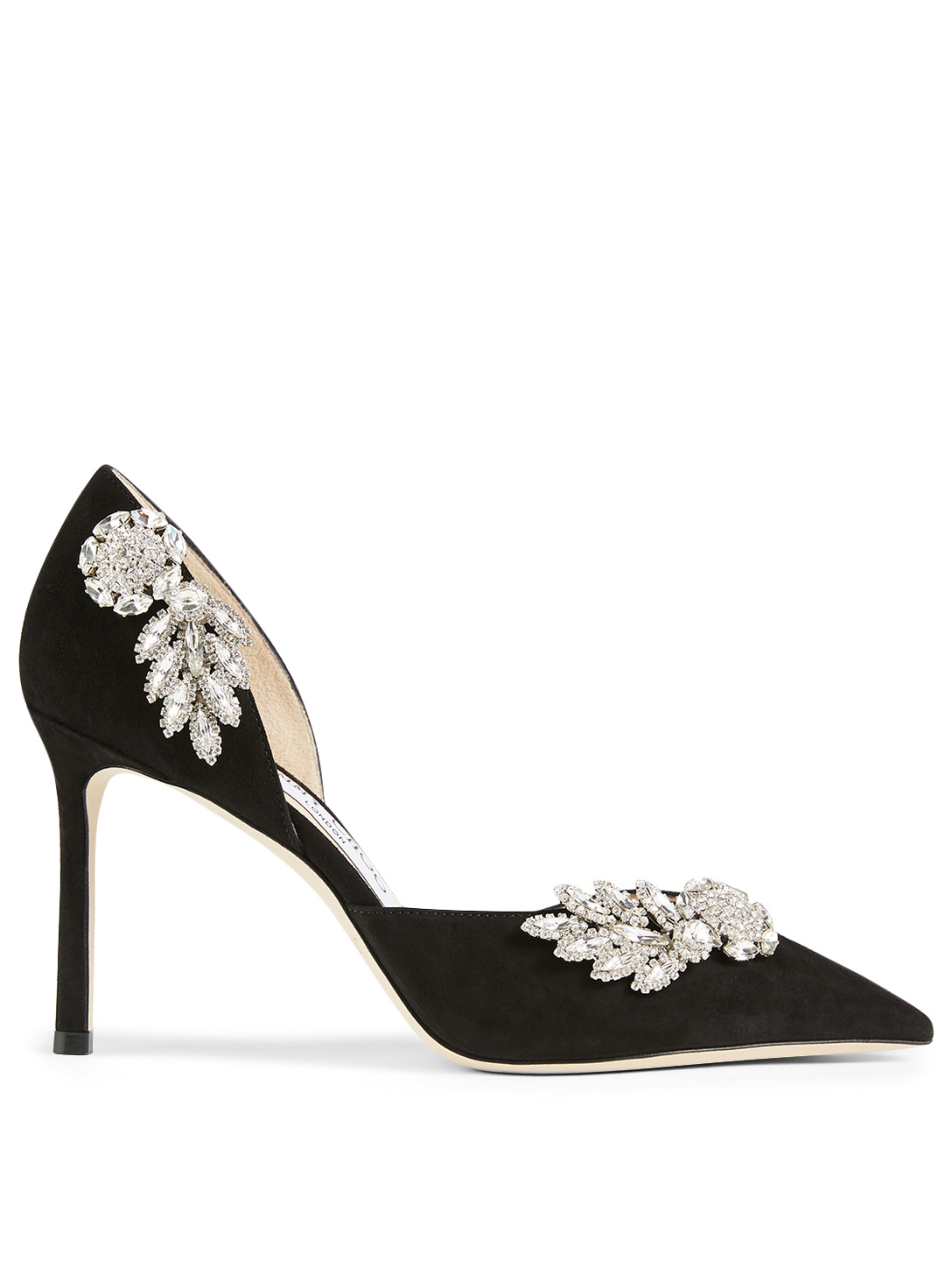 JIMMY CHOO Teja 85 Suede D'Orsay Pumps With Crystal Wings Women's Black