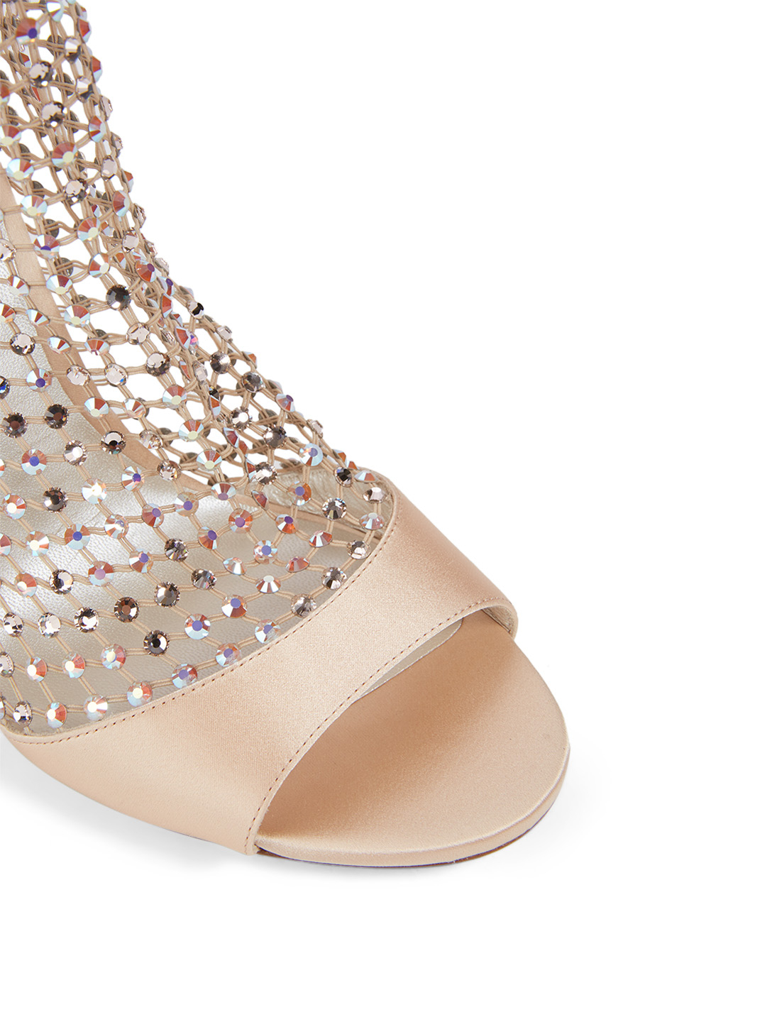 RENE CAOVILLA Galaxia 105 Satin And Crystal-Net Heeled Sandals Women's Neutral