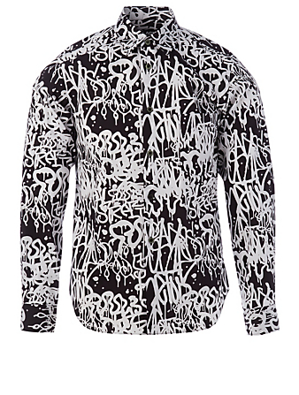 COMME DES GARÇONS BLACK Cotton Printed Shirt Men's Black