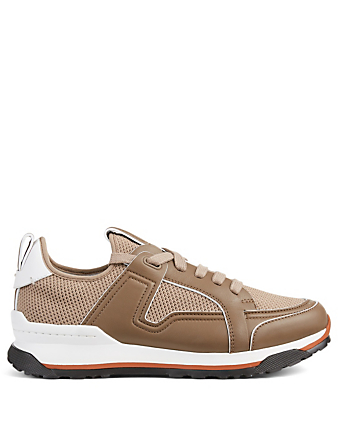 ERMENEGILDO ZEGNA Siracusa Leather And Mesh Sneakers Men's Beige