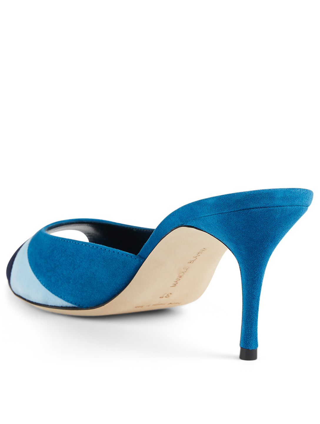 MANOLO BLAHNIK Apoyo Suede Heeled Mule Sandals Women's Blue