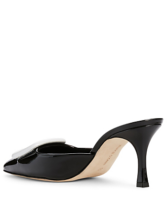 MANOLO BLAHNIK Maysale Patent Leather Mules Women's Black