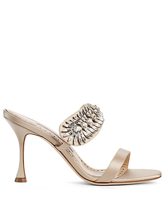 MANOLO BLAHNIK Skysan Satin Heeled Mule Sandals Women's Neutral