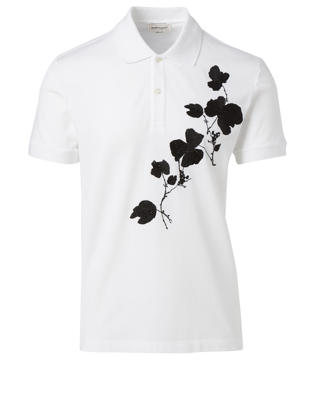 ALEXANDER MCQUEEN Cotton Polo In Floral Print Men's White