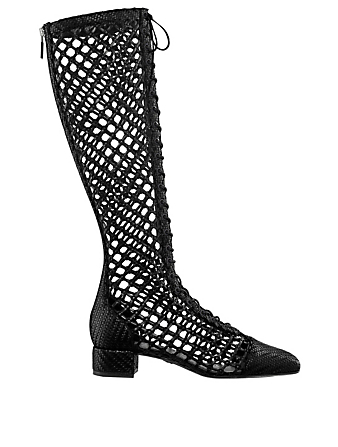 DIOR Naughtily-D Braided Leather Lace-Up Boots Women's Black