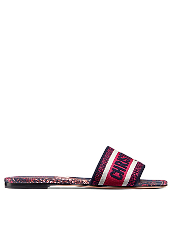 DIOR Dway Embroidered Cotton Slide Sandals Women's Pink