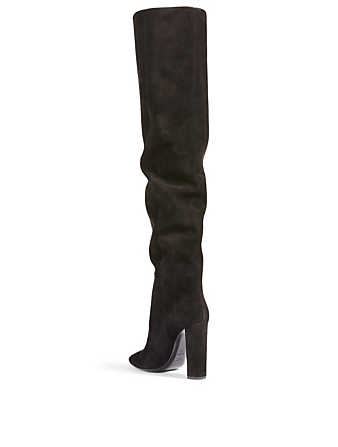 SAINT LAURENT 76 Suede Heeled Over-The-Knee Boots Women's Black