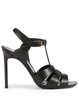 SAINT LAURENT Tribute 105 Leather Heeled Sandals Women's Black