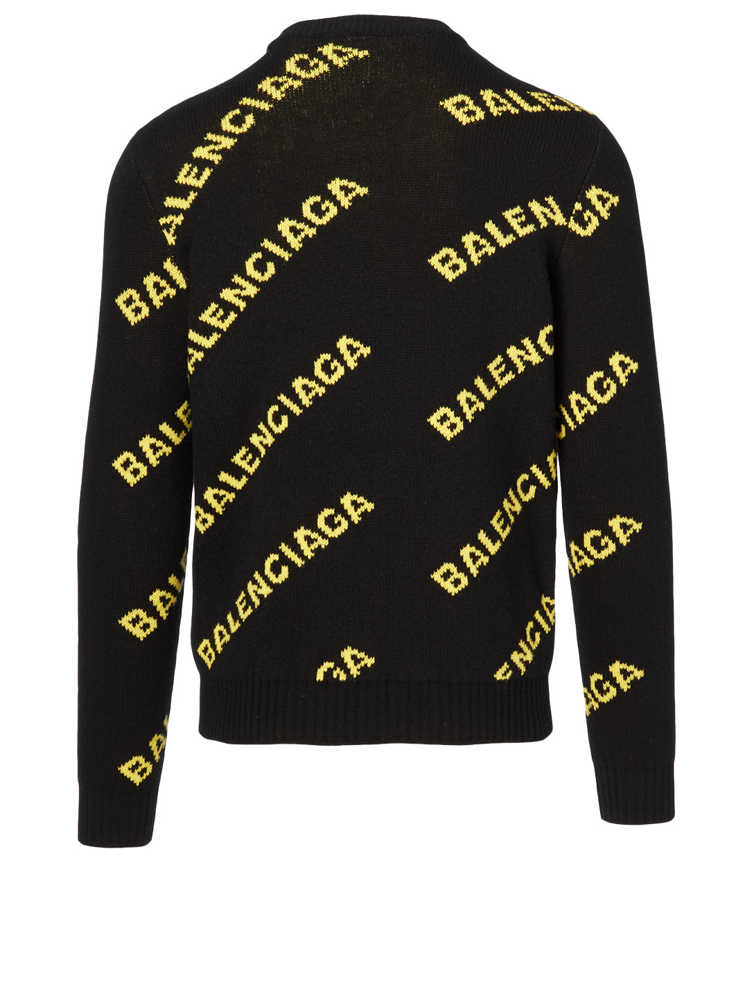 BALENCIAGA Wool Crewneck Sweater In Logo Print Men's Black