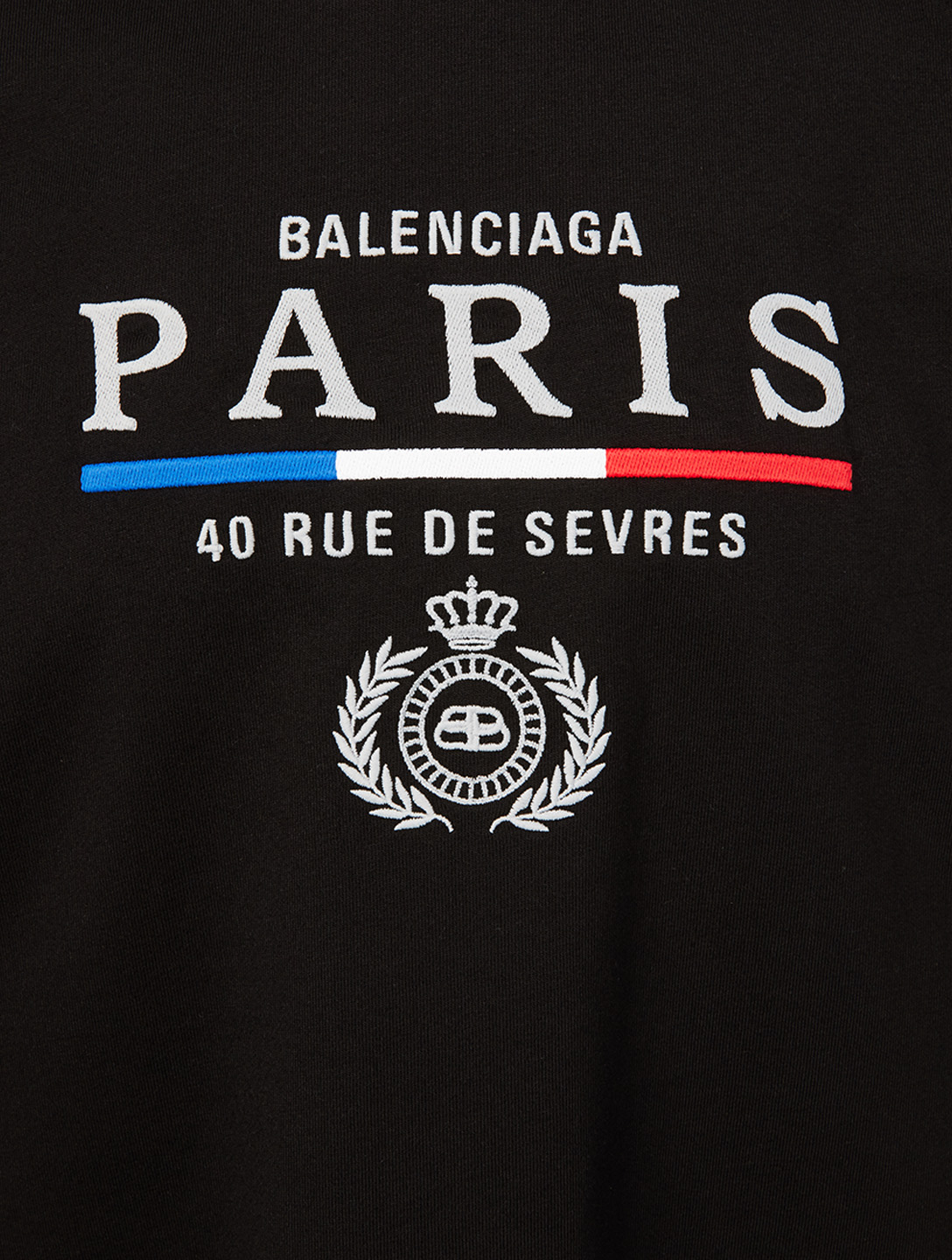 BALENCIAGA Paris Flag Cotton T-Shirt Men's Black