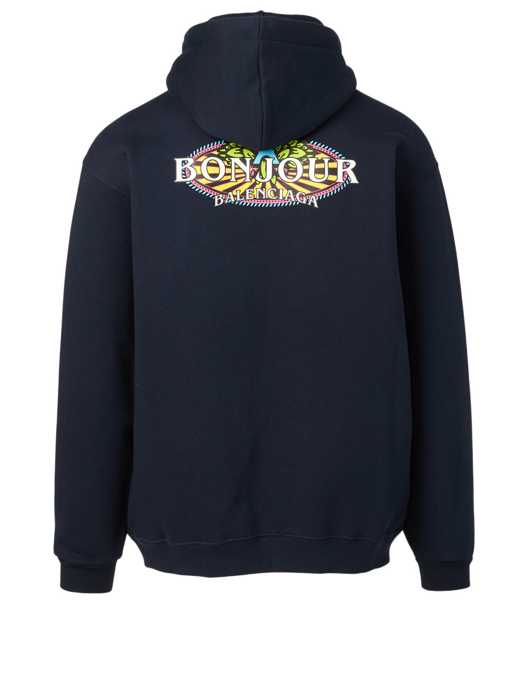 BALENCIAGA Bonjour Cotton Hoodie Men's Blue