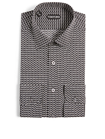 TOM FORD Cotton-Blend Printed Shirt Men's Black
