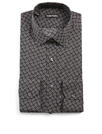 TOM FORD Cotton-Blend Shirt In Paisley Print Men's Black