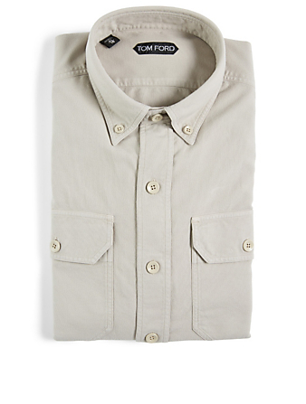 TOM FORD Cotton Long-Sleeve Shirt Men's Beige
