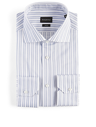 ERMENEGILDO ZEGNA Cotton Shirt In Striped Print Men's Blue