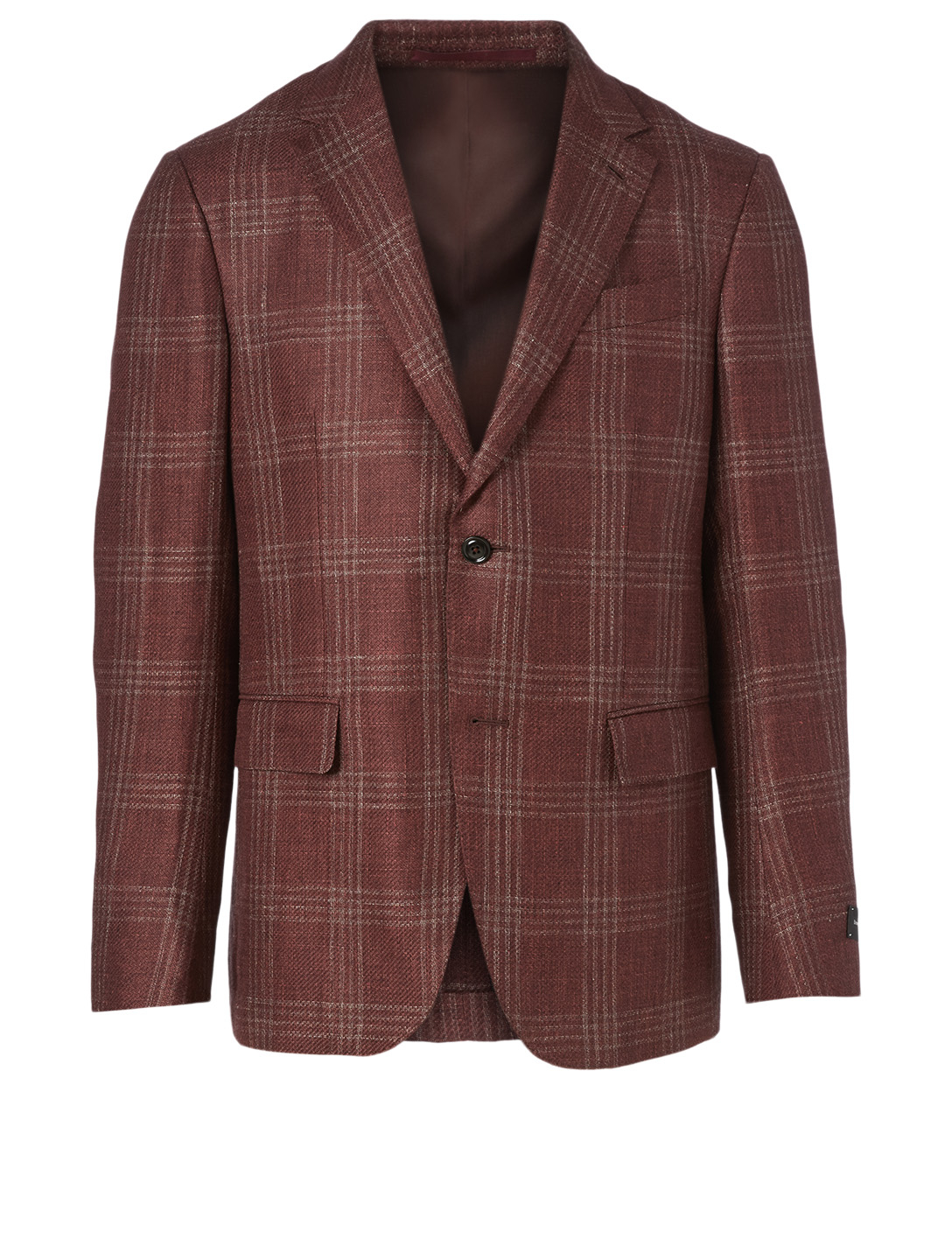 ERMENEGILDO ZEGNA Linen And Alpaca Jacket In Check Print Men's Orange