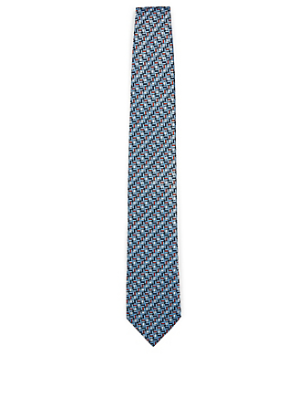 ERMENEGILDO ZEGNA Silk Tie In Geo Print Men's Blue