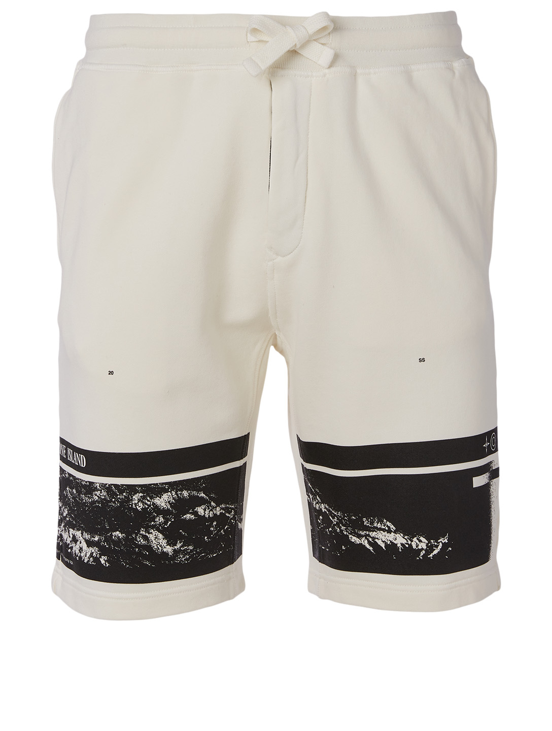 STONE ISLAND Drone Four Fleece Shorts Men's White