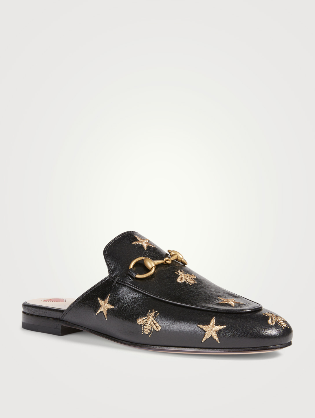 GUCCI Princetown Leather Slippers With Embroidered Stars Women's Black