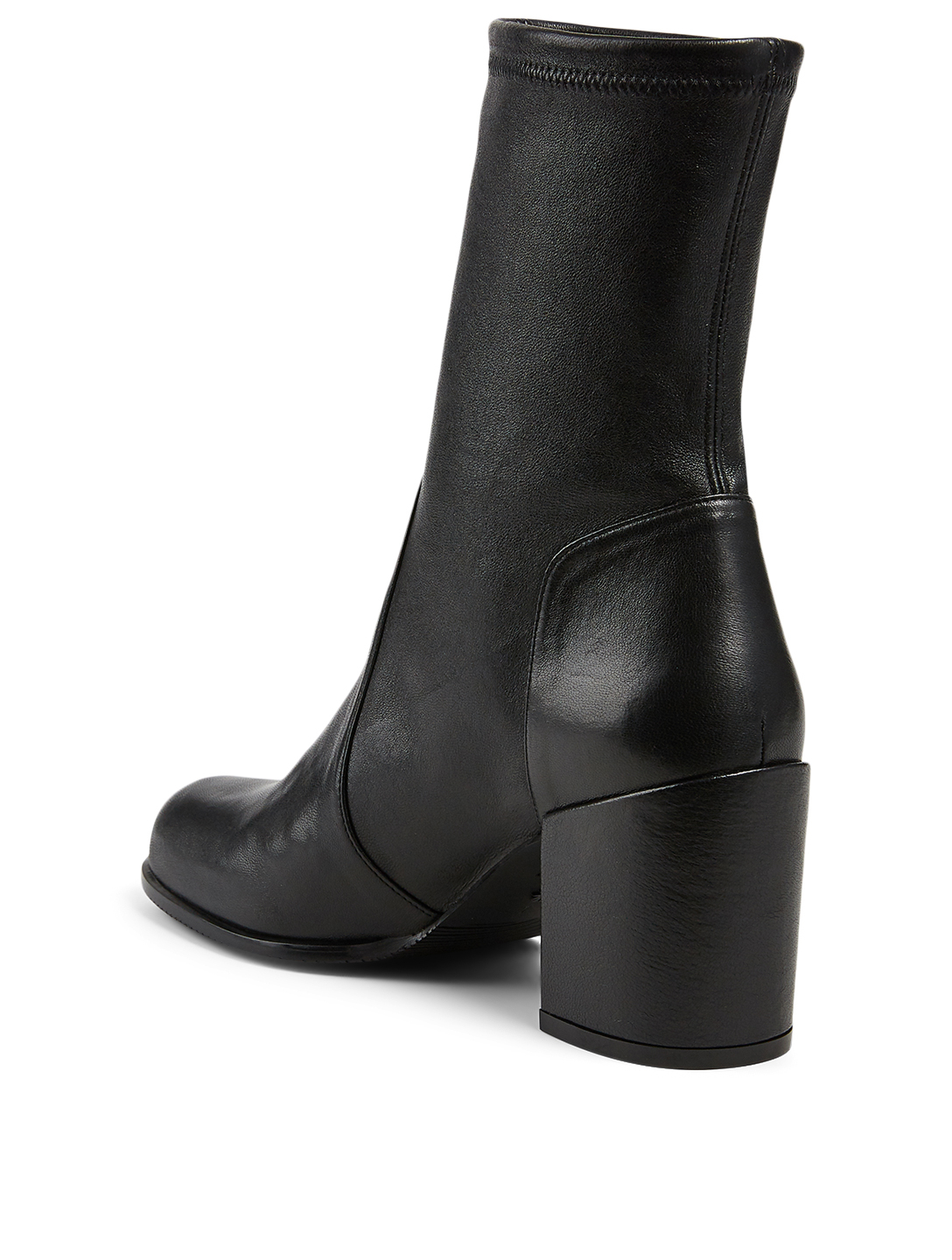 STUART WEITZMAN Tieland Stretch Leather Heeled Ankle Boots Women's Black