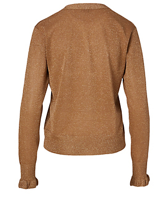 DRIES VAN NOTEN Cardigan Jewel en lurex à volants Femmes Beige