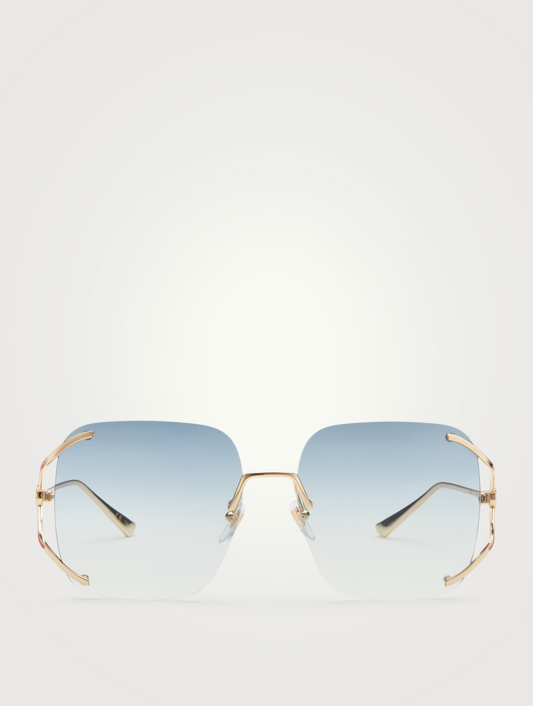 GUCCI Square Sunglasses Women's Metallic