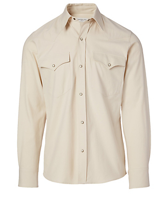 DRIES VAN NOTEN Curtain Cotton Western Shirt Men's White