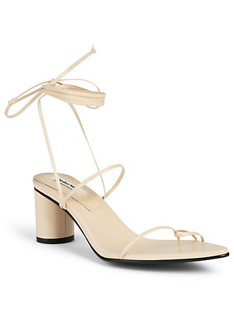 REIKE NEN Odd Pair Leather Heeled Sandals Women's Beige