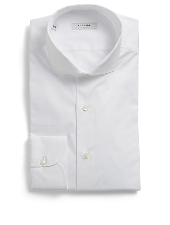 BOGLIOLI Cotton Stretch Dress Shirt Men's White