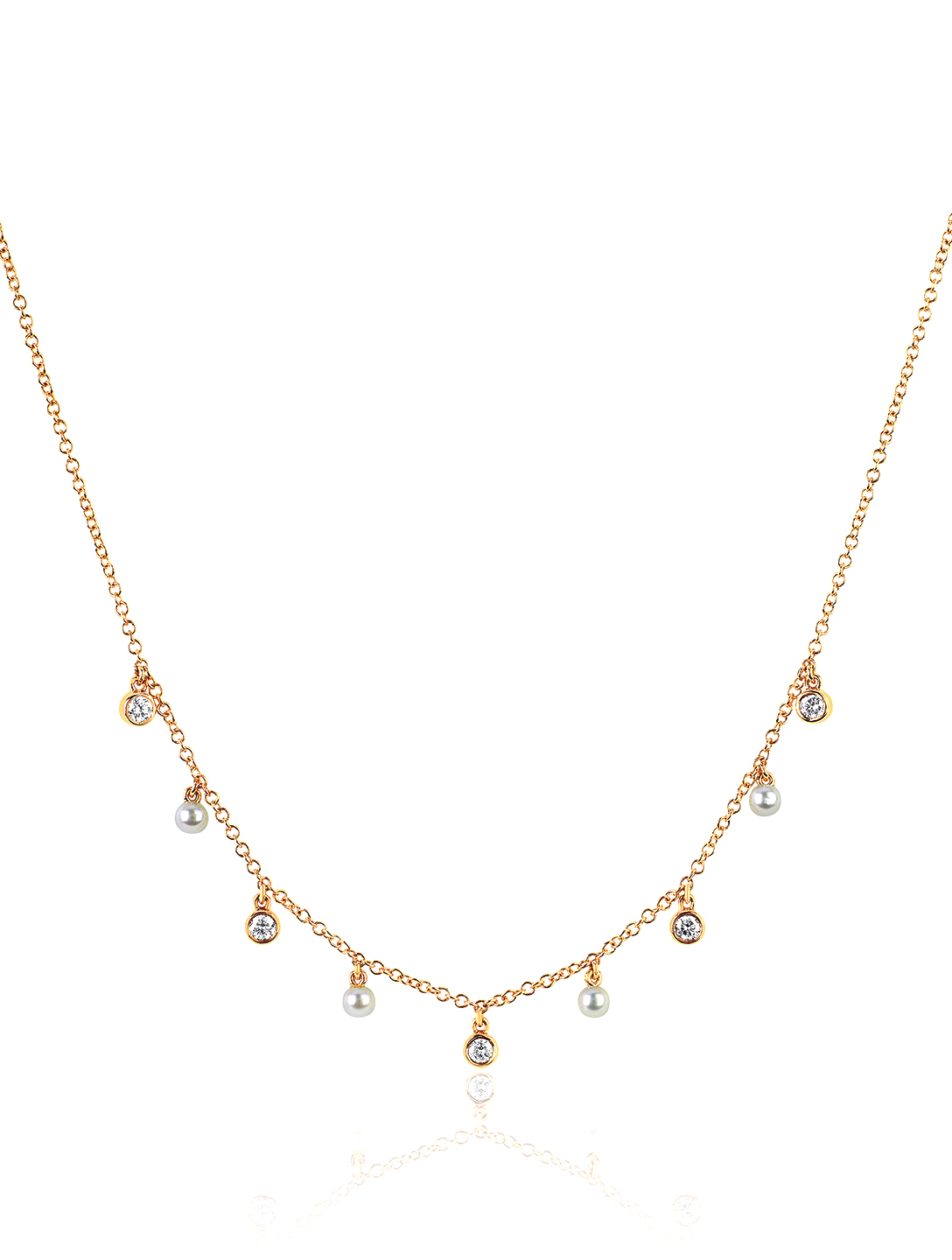 EF COLLECTION 14K Gold Diamond Bezel Necklace With Pearls And Diamonds Women's Metallic