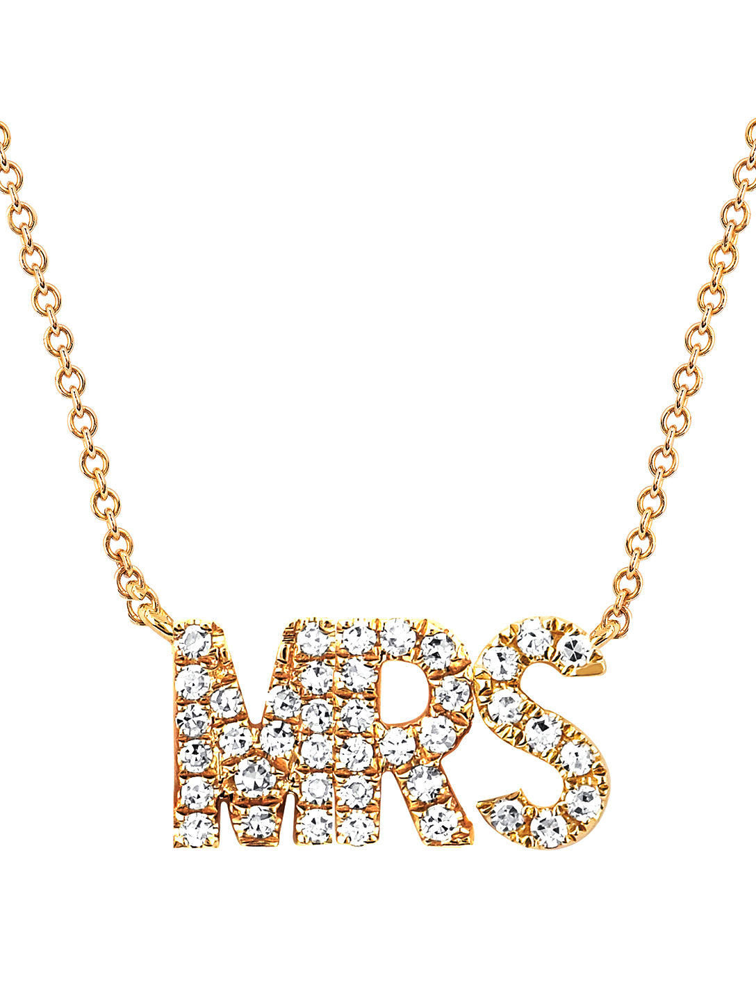 EF COLLECTION 14K Gold Mrs Necklace With Diamonds Women's Metallic