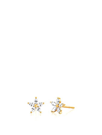 EF COLLECTION 14K Gold Flower Stud Earrings With Diamonds Women's Metallic