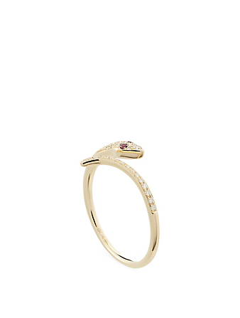 EF COLLECTION 14K Gold Snake Ring With Rubies And Diamonds Women's Metallic