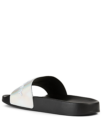 GIVENCHY Logo Slide Sandals Women's Metallic