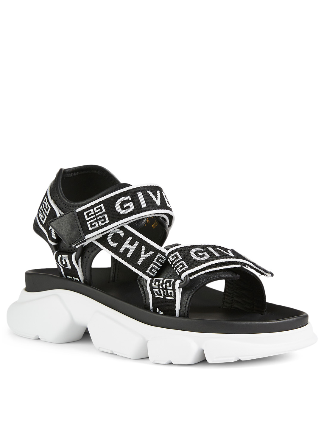 GIVENCHY Jaw Leather Sandals With 4G Webbing Women's Black