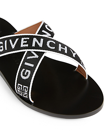 GIVENCHY 4G Webbing Flat Sandals Women's Black